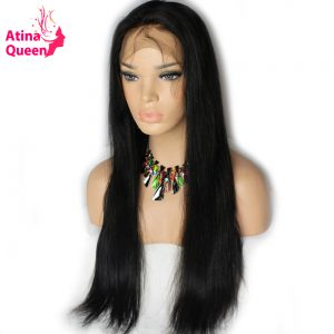 Atina Queen Full Lace Human Hair Wigs with Baby Hair Silky Straight Glueless for Black Women Pre Plucked Natural Hairline Remy