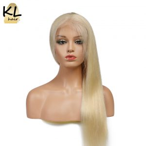 KL Hair Full Lace Human Hair Wigs #613 Color Straight Brazilian Remy Hair Blonde Lace Wigs Natural Hairline With Baby Hair 12-20