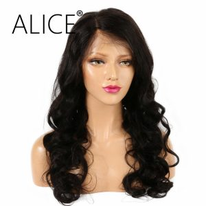 ALICE150 Density Full Lace Human Hair Wigs With Baby Hair Natural Color Body Wave Remy Brazilian Wig For Black Women