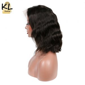 "KL Hair Pre Plucked Natural Wave Full Lace Human Hair Bob Wigs 8""~14"" Brazilian Remy Hair Short Wigs For Black Women"