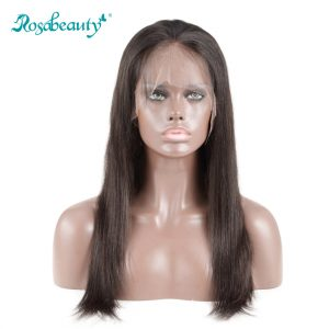 Rosabeauty Glueless Full Lace Human Hair Wigs Straight Natural Color Brazilian Remy Hair Wigs 130% Density With Baby Hair
