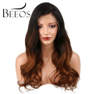 BEEOS Body Wave Ombre Full Lace Human Hair Wigs With Baby Hair Brazilian Non Remy Hair For Black Women Pre Plucked All Hand Tied