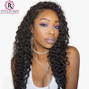 360 Lace Frontal Wig With Baby Hair 180% Density Deep Wave Brazilian Lace Front Human Hair Wigs For Black Women Rosa Queen Remy