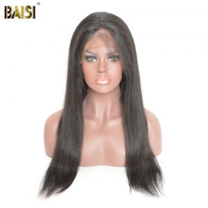 BAISI 360 Lace Frontal Wigs Pre-Plucked Straight Human Hair with Natural Hairline 150% Density Brazilian Remy Hair Free Shipping