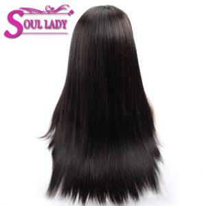 Soul Lady Brazilian Straight 360 Lace Frontal Wigs Natural Color Pre Plucked 180% Desnity Remy Human Hair Wigs For Black Women