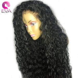 250% Density 360 Lace Frontal Wig Pre Plucked With Baby Hair Eva Hair Curly 10-22 Brazilian Remy Human Hair Wigs For Black Women