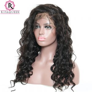 Pre Plucked 360 Lace Frontal Wig With Baby Hair 180% Density Loose Wave Brazilian Human Hair Wigs Rosa Queen Remy Full Ends