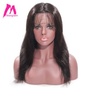 Maxglam 360 Lace Front Human Hair Wigs With Pre Plucked Baby Hair For Black Women Brazilian Straight Remy Hair Freeshipping