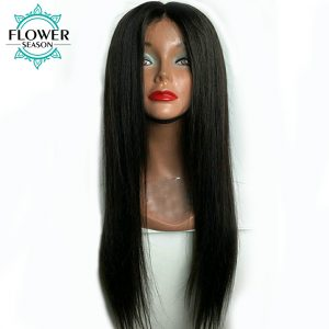 FlowerSeason 150% Density 360 Lace Frontal Wigs For Black Women Pre Plucked Non Remy Hair Brazilian Straight Human Hair Wigs