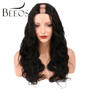 BEEOS 250 Density Body Wave 1x4 Middle Part U Part Human Hair Wigs For Black Women Brazilian Remy Hair10-22 Inches Lace Wigs