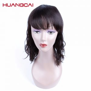 Huangcai Medium Length Brazilian Natural Wave 100% Human Hair Wigs For Black Women Pre Plucked Non Remy 12 Inch 180%