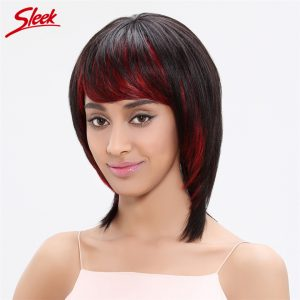 Sleek Straight Human Hair Wigs 100% Brazilian Virgin Hair 14 Inch Color 1B/RED Two Tone Wigs Jessica