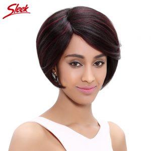Sleek Brazilian Straight Human Hair Wigs Short Bob Wig 100% Brazilian Virgin Hair 8 Inch Two Tone Color 1B Burgundy Hair Wigs