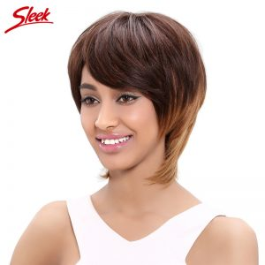 Sleek Brazilian Short Human Hair Wigs For Black Women Straight Virgin Hair Non Lace Wig Color LXMD4/30/27 Free Shipping