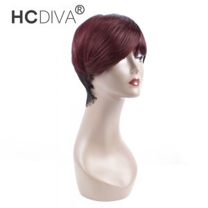 HCDIVA Brazilian Human Hair Wigs For Black Women Short Fashion Style Wigs 1B/99J or Natural Color Non Remy Hair