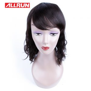 Allrun Hair Products Peruvian  Natural Wave 12inch For Black Women Natural Color Human Hair Wigs