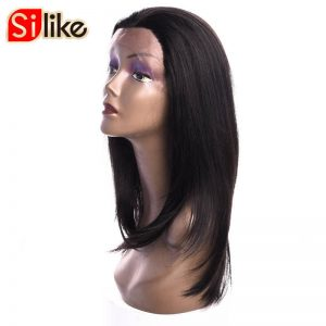 Silike 16 inch Natural Black Straight Lace Frontal Synthetic Wigs for Black Women High Temperature Fiber With Adjustable Bandage