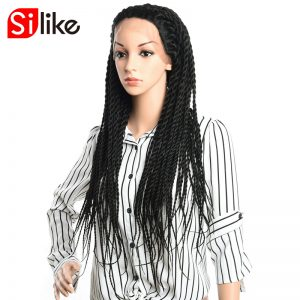 Silike 24 inch Senegalese Twist Braided Lace Frontal Wigs 350g Synthetic Braiding Hair Lace Wig Long Color 1B For Black Women