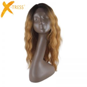 X-TRESS Glueless Long Wavy Swiss Black Ombre Golden Synthetic Lace Front Wig Heat Resistant Natural Hairline Hair Wigs For Women