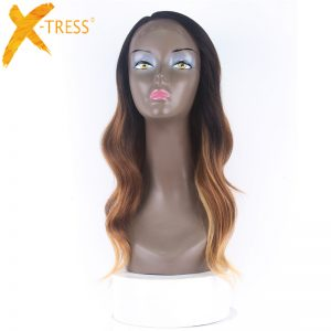 X-TRESS Ombre Dark Roots Pink Blonde Synthetic Lace Front Wig Side Parting Heat Resistant Natural Body Wave Wigs for Black Women