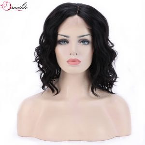 s-noilite Glueless Body Wave Bob Synthetic Hair Wig Natural off Black Lace Front Wigs for Women Ladies
