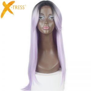 Purple Ombre Dark Women's Wig With Bangs Kenekalon Heat Resistant Glueless Long Straight Synthetic Lace Front Wigs Middle Part