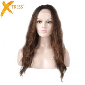 "X-TRESS 28"" Natural Wave Lace Front Wig 1.5*13.5 Inches Peruca Perruque Lace Wig Extensions Long Synthetic Wigs For Black Women"
