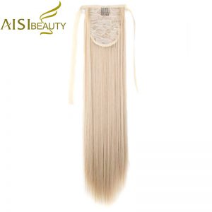 "AISI BEAUTY 22"" Silky Straight 15 Colors Synthetic Hair Ribbon Drawstring Ponytail Pieces Extension"