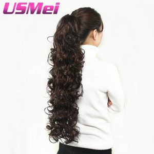 USMEI 32 inches Long curly Claw Clip Ponytail Fake Hair Extensions False Hair Pony Tails Horse Tress Synthetic Hairpieces
