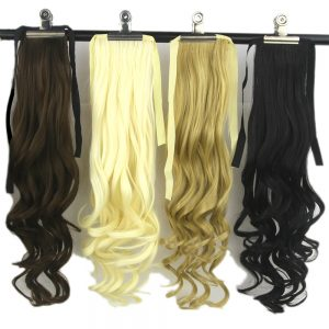 Soowee 10 Colors High Temperature Fiber Synthetic Women Hair Extensions Black Blonde Wavy Ponytail Hairpiece Pony Hair