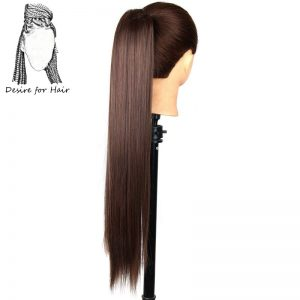 24inch 150g silky straight high tempreture synthetic fiber ponytail hair extensions with claw clip and elastic drawstring