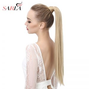 "SARLA Long Straight  24""&28"" Synthetic Wrap Around Ponytail Hair Extensions High Temperature Fiber Clip-in Hairpieces P001"