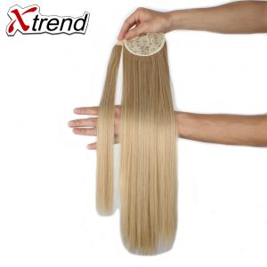 Xtrend Synthetic Straight Ponytails Hairpieces With Hairpins For Women 24inch Long False Hair Extensions High Temperature Fiber