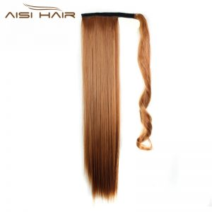 "I's a wig 24"" 110g 15 Colors Available High Temperature Fiber Synthetic Fake Hair Wraparound Ponytail Extensions for Women"