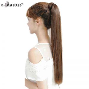 "SNOILITE 26"" Synthetic Long Ponytail Clip In Pony Tail Hair Extensions Wrap on Hairpieces Straight Hairstyles Brown Black Blonde"