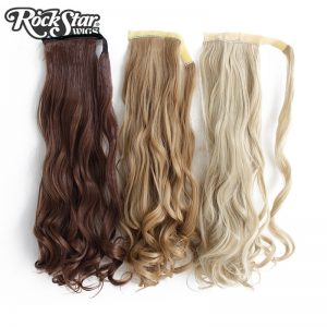 Rockstar Wigs 9Colors Long Wavy Clip in Synthetic Hair Ponytail  Heat Resistant Fiber Black Fake Hairpiece