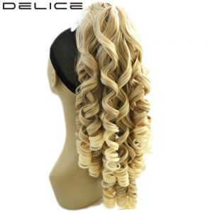 "DELICE 24"" 180g Clip In Long Blonde Curly Claw Ponytail High Temperature Fiber Synthetic Hair Extensions Pieces"