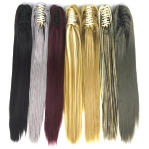 Soowee 15 Colors 55cm Straight Clip In Hairpiece Hair Extensions Blonde Gray Little Pony Tail Synthetic Hair Claw Ponytail