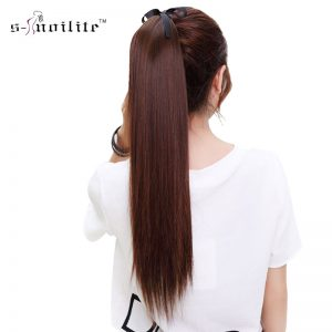 "SNOILITE 26"" Synthetic Long Ponytail Clip In Pony Tail Hair Extensions Wrap on Hairpieces Straight Hairstyles"