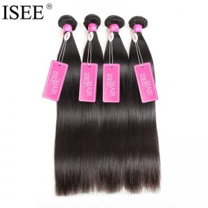 ISEE HAIR Brazilian Virgin Hair Straight Human Hair Bundles 100% Unprocessed 1 Piece Hair Extension 10-36 Inch Can Buy 4 Bundles