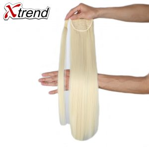 Xtrend 24inch Long Synthetic Hair Ponytail Straight Hairpieces Black Blond Clip In Fake Hair For Women High Temperature Fiber
