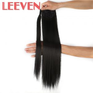 "Leeven 24"" Synthetic Straight Fake Hair Pieces Blonde To Brown Ponytail Clip in hair pony tail extension High Temperature Fiber"