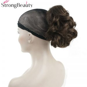 Strong Beauty Synthetic Hair Short Fake Chignon Hair Piece Curly Clip-in Extensions Hairpiece For Women 43colors
