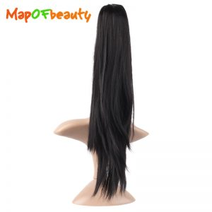 "MapofBeauty 16"" 20"" black Orange Female HairPiece Ponytail straight shape Claw Hair Extensions clip in Synthetic hair Fiber"
