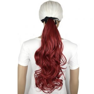 "TOPREETY Heat Resistant B5 Synthetic Hair Fiber 18"" 45cm Wavy Ribbon Clip in Ponytail Extensions"