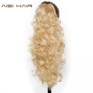 "AISI HAIR 22"" 15 Colors Long Curly High Temperature Fiber Synthetic Hair Pieces Claw Clip Ponytail  Pieces Extensions"