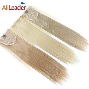 "AliLeader False Hair Tail Hairpiece Ponytail Synthetic Tress of Hair 18"" Long Straight Fake Ponytails Clip On Ponytail 10 Colors"