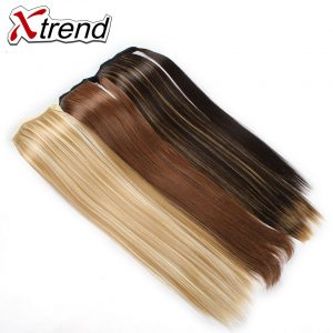 Xtrend 24'' Long Straight Synthetic Hair Ponytails Clip In Fake Hair Drawstring Pony Tail High Temperature Fiber Hair Extension