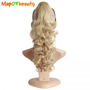 MapofBeauty loose wave blonde black and mixed colors Synthetic wigs Ponytail shape Claw HairPiece 16inch clip-in hair extensions