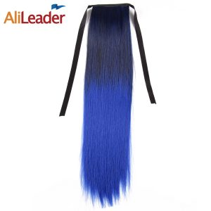 AliLeader Long Straight Clip In Hair Ponytail Hairpieces Blonde Gray Blue Green Red Synthetic Ombre Pony Tail Hair Extensions
